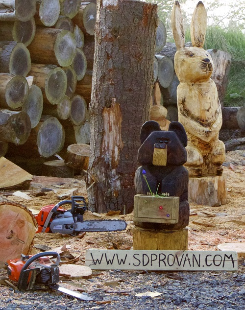 SD Provan Cute Chainsaw Carved Bear with Flower Box