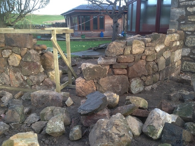 SD Provan - Constructing Curved Stone Wall & Patio